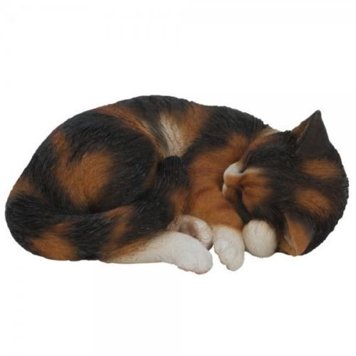 BRAND NEW TORTISHELL SLEEPING CAT GARDEN ORNAMENT
