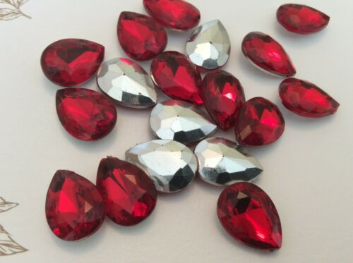 Vintage Crystal acrylic Rhinestones Tables Crafts PEAR SHAPE size Colour Options
