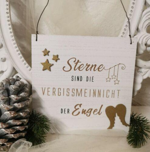 Holzbild Weihnachten Bild *Sterne sind die Vergissmeinnicht der Engel* Shabby