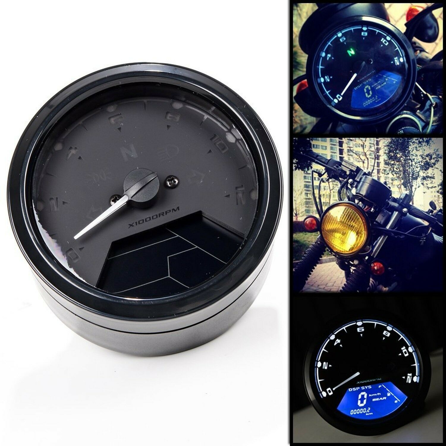 12000rpm kmh mph lcd digital odometer motorcycle speedometer tachometer ebay. Black Bedroom Furniture Sets. Home Design Ideas