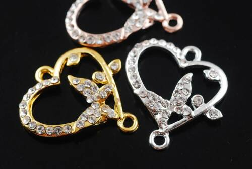5pcs 28x28mm Sliver// Gold Plated Heart-Shaped Crystal Rhinestone Metal Connector