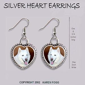GOLD FILIGREE EARRINGS Jewelry SIBERIAN HUSKY DOG White