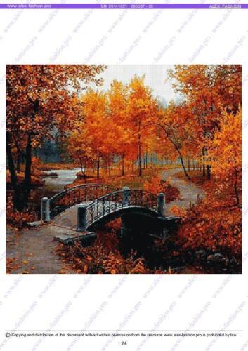 Golden Autumn-Cross Stitch Pattern-282x251 cr-DMC threads 25//colors 45-AF cs
