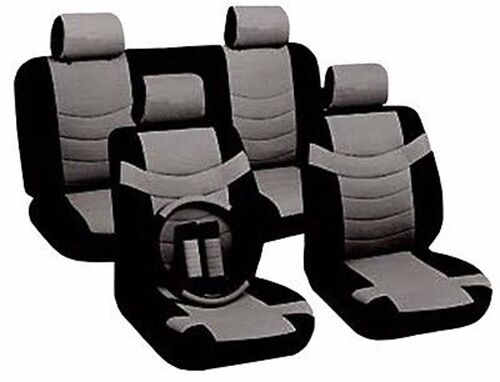 Car Seat Covers Sporty Accent Black Gray PU Leather Steering Wheel Set CS1