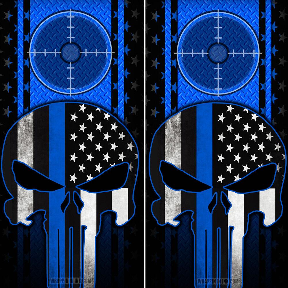 Cornhole Board 2 Wraps Punisher Skull  American Flag Thin bluee Line Diamond Plate  enjoying your shopping