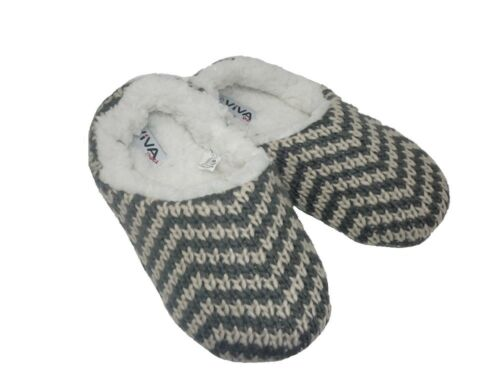 Ladies Chevron Stripe Chunky Knitted Fleece Lined Mule Slippers UK Sizes 3-7