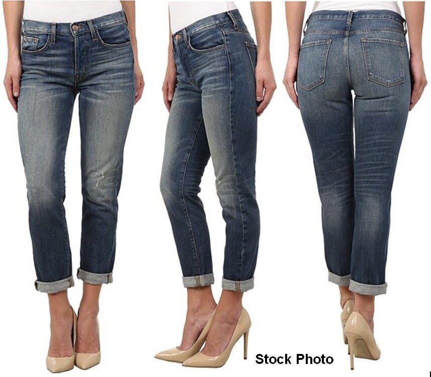 J Brand Jeans Georgia Mid Rise Slim Boyfriend Straight Distressed Sz 25 NEW