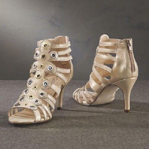 Ashro Gold Formal Dress Bellaire Shoe Heels Pumps Summer Party Wedding 9.5 10 11