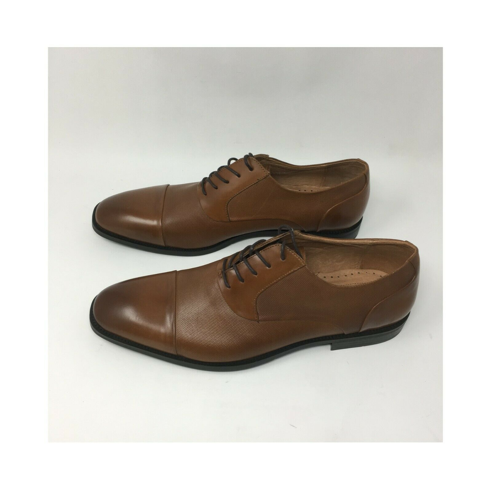 Kenneth Cole Ticket Balance Man Cognac Leather Lace Up Square Toe 11 M