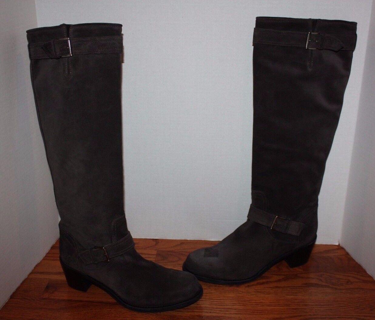 Womens AGL Attilio Giusti Leombruni Gray Buckle Suede Leather Boots Size 41.5