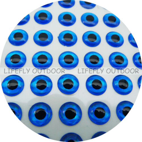 Fly Jig Lure Wholesale 900 Soft Molded 3D Holographic Fish Eyes 4mm Blue
