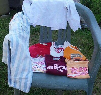 6 Shirts / Oberteile 1 Bluse 1 Latzhose Gesamt 8 Teile Gr. 86 92 98 110 116