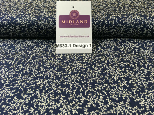 """Navy And White Floral Paste Printed 100/% Cotton Poplin Craft Fabric 45/"""" M633"""