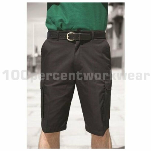 "Warrior Mens Polycotton Cargo Work Shorts Trousers Black or Navy Blue 28/"" to 52/"""