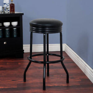 Sensational Retro Ribbed Swivel Bar Stool 28 Inches High Black Gamerscity Chair Design For Home Gamerscityorg