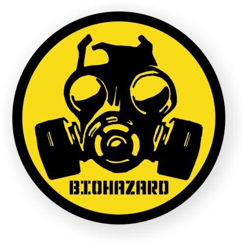 Gas Mask Biohazard Symbol Hard Hat Decal \ Label \ Motorcycle Helmet Sticker USA
