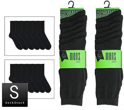 12 Pairs Of Mens Black Plain Lycra Socks, Comfort Fit Socks, Size 6-11
