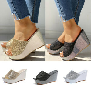 Hot-Womens-Fashion-Open-Toe-Sequins-Shoes-Wedge-Platform-Slip-On-Sandals-Holiday