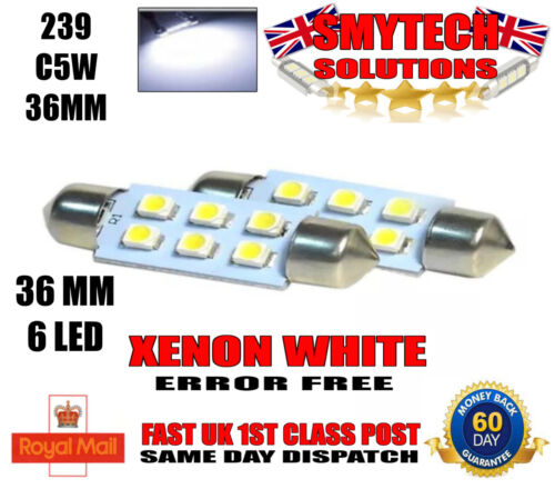 x2 36mm 6-SMD LED Xenon White Number Plate Bulbs MK 1 FORD FOCUS /& ST 1998-04