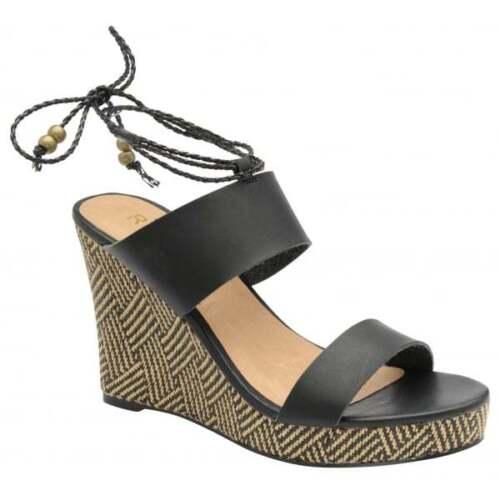 Ladies Ravel Gratz Leather Black Hessian Summer High  Wedge Sandals Shoes  UK 6