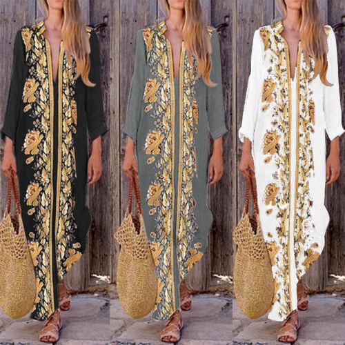 Damenmode Lange Kleid Split Party Beach Lose V Neck Elegant Shirts Abendkleid