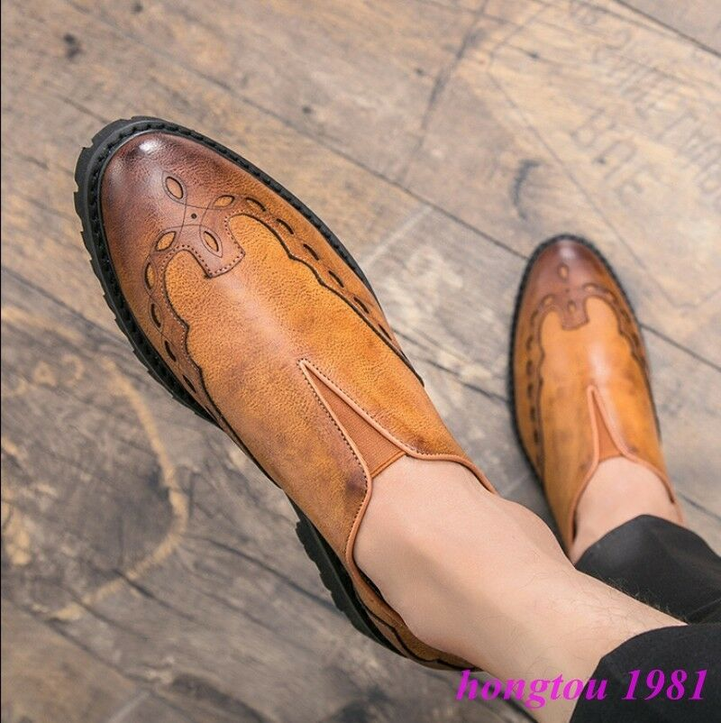 British Mens Retro Carved Pointy Toe Slip On Dress Formal Groom shoes Oxfords Sz
