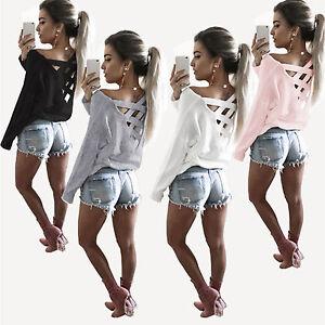 Damen-Bluse-Pullover-T-Shirt-Pulli-Rueckenfrei-Shirt-Langarm-Tops-Tunika-Oberteil