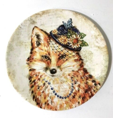Pier 1 ~ REGAL FOX Salad Plate with Purple Hat Necklace smooth glaze NWT