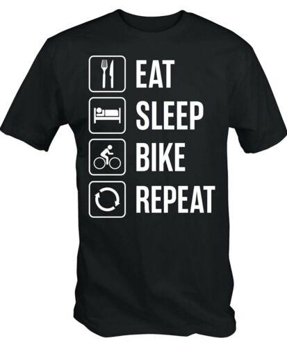 Comer Dormir Bicicleta repetir T-Shirt Tee Shirt Damas Bicicleta de montaña unisex para hombre