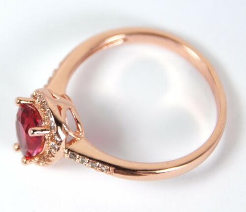 Para mujeres Rosa Oro Plateado Anillo De Cristal Rojo