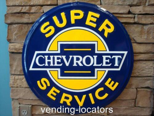 "CHEVROLET 24"" Super Service Embossed Metal Round Sign Vintage Style Garage New"