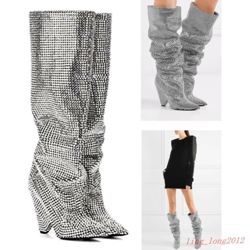 Damen Glitter Kuh Leder verziert kniehohe Stiefel Kristallbesatz Hoher Absatz