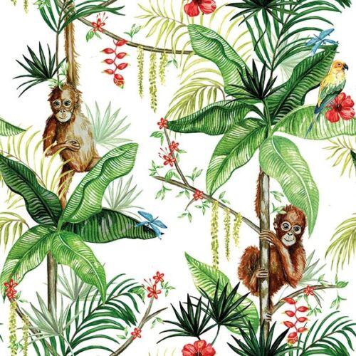 4 Serviettes des nappes Orangutan White 33 x 33 ORANG-OUTANG perroquet fleurs Jungle
