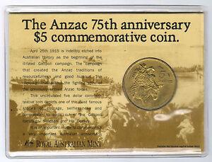 1990-5-RAM-Coin-The-Anzac-75th-Anniversary-Commemorative-Coin-UNC