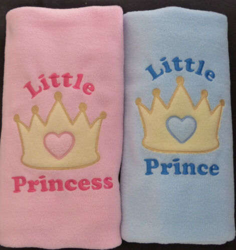 Little Prince Princess Crown Personalised Baby Blanket Boy Girl Cot Crib Moses