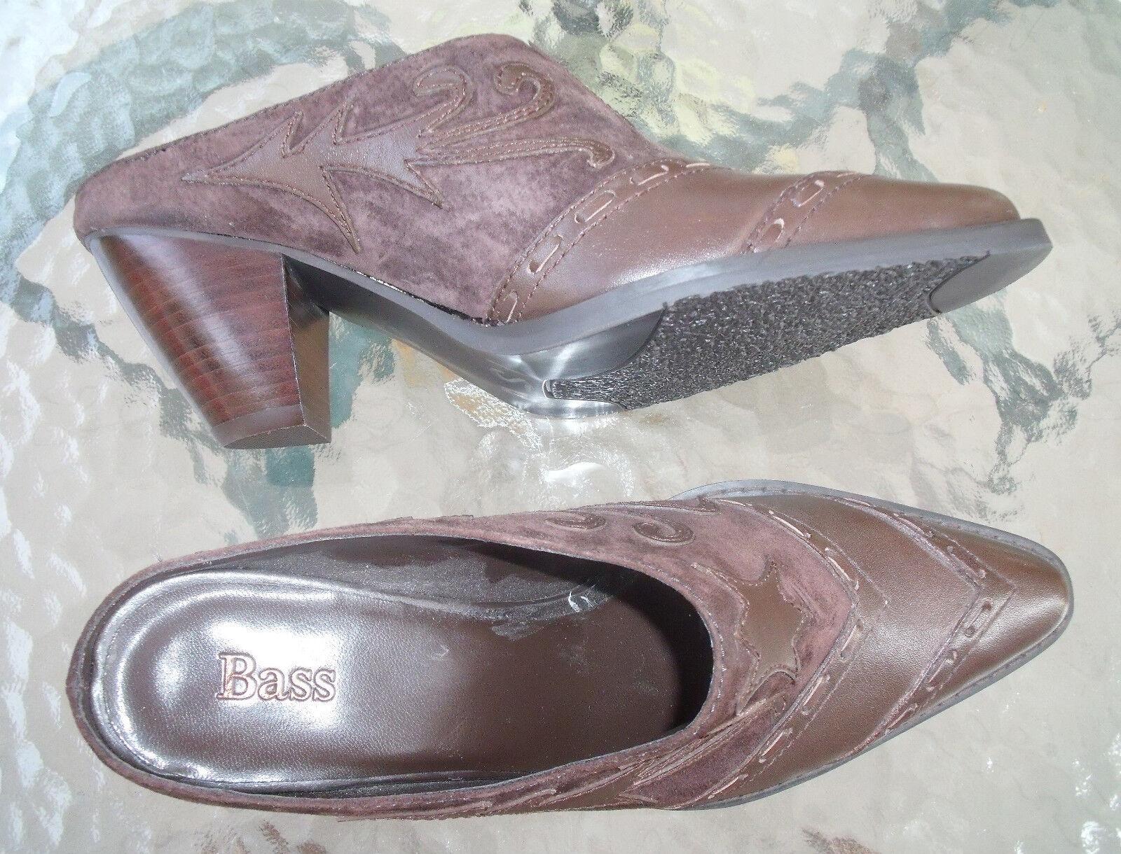 womens dark brown heel Bass leather cowgirl high heel brown shoes sz 7 M 1a23c2
