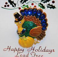 Thanksgiving Turkey W Pilgrim Hat Pin / Pendent / Blue Crystals / Gold-tone