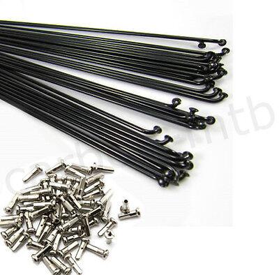 10PCS 14G Bike Bicycle Spoke Spokes 12mm Nipples 170~286mm steel spoke ^P