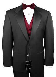 Sizes-35-64-Long-6-Piece-Tuxedo-Package-with-Flat-Front-Pants-amp-Burgundy-Vest