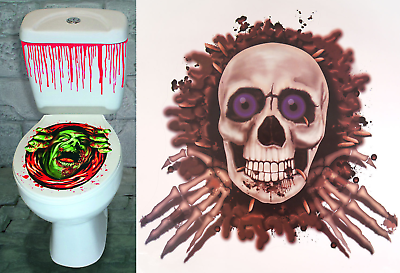 Halloween Wc & Sangue Finto Adesivo Set Horror Spaventoso Decorazione Festa