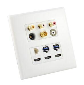 Smart-TV-AV-Wall-Plate-3-HDMI-3-RCA-2-USB-3-0-Cat6-Toslink-Antenna-PAL-3-5mm