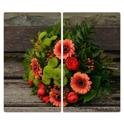 Herdabdeckplatten Ceranfeldabdeckung Spritzschutz Glas 2x30x52 Blumen Rot Holz
