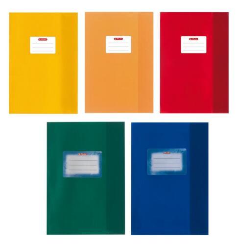 5 verschiedene Farben 20 Herlitz Heftumschläge Baststruktur DIN A5