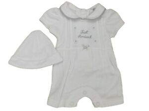 Little Chick BNWT Tiny Premature Preemie Baby White Romper All in one Suit hat