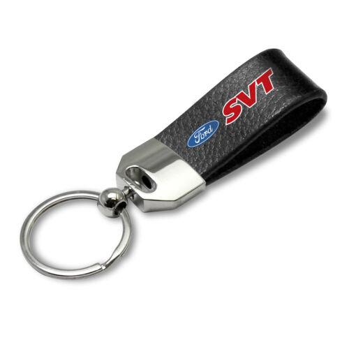 Ford SVT Large Genuine Black Leather Loop Strap Key Chain Keyring