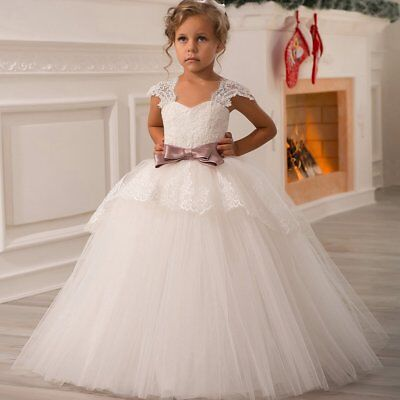 Lace Flower Girl Dress Girls Tulle Dresses Birthday Party Dress Communion Dress