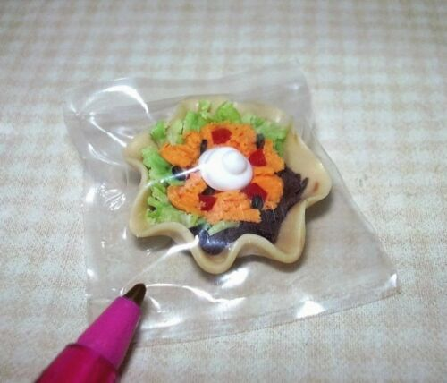 Miniature Lola Renner Taco Salad in Tortilla Shell Bowl DOLLHOUSE 1:12 Scale