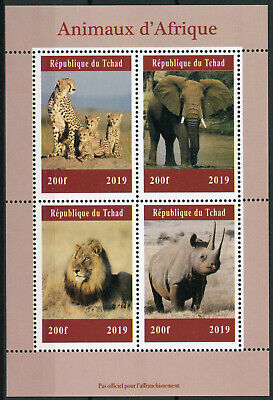 Chad 2019 Mnh African Wild Animals Elephants Lions Rhinos 4v M/s Stamps