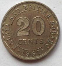 Malaya & British Borneo 20 cents 1961 coin
