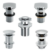 CHROME CLICK CLACK SLOTTED UNSLOTTED SPRUNG POP UP PUSH BUTTON SINK BASIN WASTE